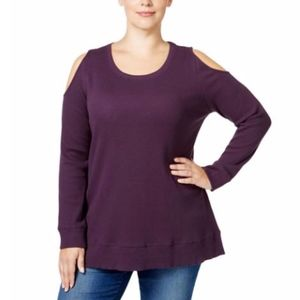 NWT Style & Co. Cold Shoulder Long Sleeve Top